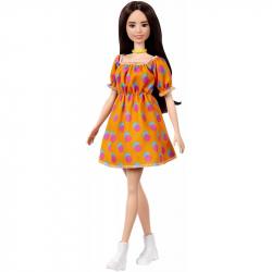 Barbie Model - pomarańczowa sukienka w kropki