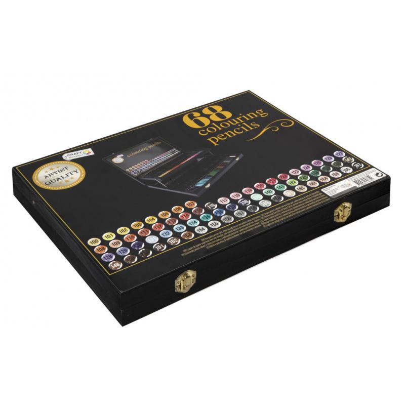 Drevený maliarsky kufrík s pastelkami 68 ks