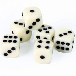 Hrací kostky bílé 6 ks