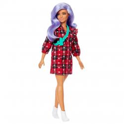 Barbie modelka v kockovaných šatách