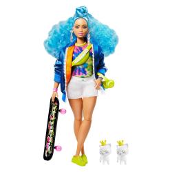 Barbie extra s modrým afro účesem