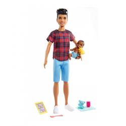 Barbie Opatrovateľka Ken + bábätko / doplnky GRP14