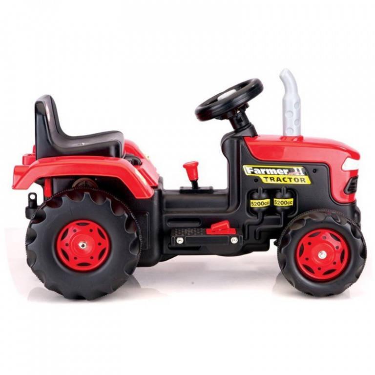 Velký šlapací traktor, červený