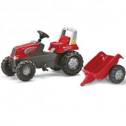 Šliapací traktor Rolly Junior s vlečkou červený