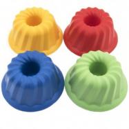 Formičky Bábovky guľatá plast 12x7cm asst 4 farby 12m +