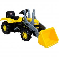 Veľký šliapací traktor s rýpadlom, žltý