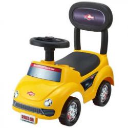 Odrážadlo auto plast žlté výška sedadla 20cm v krabici 48x23,5x22,5cm 12-35 cm