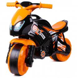 Odrážadlo motorka oranžovo-čierna plast v sáčku