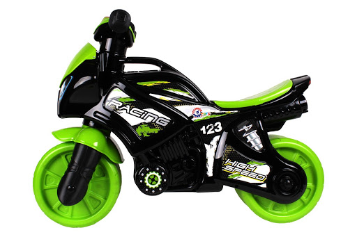 Odrážadlo motorka zeleno-čierna plast na batérie so svetlom so zvukom v sáčku 36x53x74cm