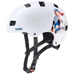 18 UVEX HELMA KID 3, WHITE SKATE 55-58 cm