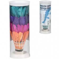 Loptičky / Košíčky na badminton perové farebné 4ks v tube 6x18x6cm