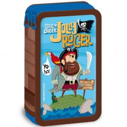 Piórnik szkolny Pirat Jolly Roger dwupoziomowy