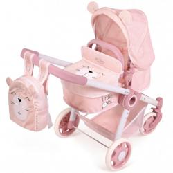 DeCuevas 80539 Skladací kočík pre bábiky 3 v 1 s batôžkom Little Pet 2020 - 70 cm