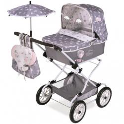 DeCuevas 82035 Skladací kočík pre bábiky REBORN so slnečníkom a doplnky SKY 2020 - 90 cm