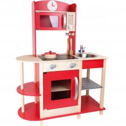 Woody kuchnia - wyspa trendy czerwona