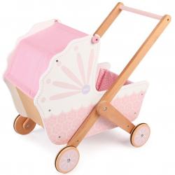 Tidlo drevený kočík pre bábiky ružový