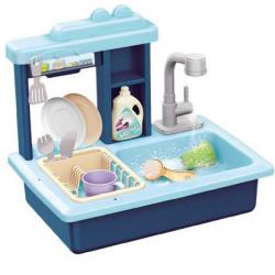 Drez na umývanie riadu modrý + kohútik na vodu na batérie plast s doplnkami