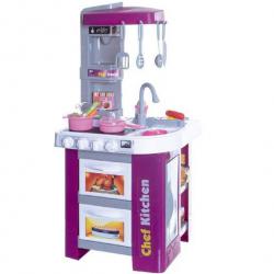 Kuchyňa s doplnkami sada 49 ks plast na batérie so zvukom sa svetlom v krabici 48x70x12cm