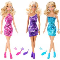 Barbie v trblietavých šatách