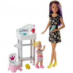Barbie. Zestaw Opiekunka dziecięca + lalki, mix wzorów Mattel