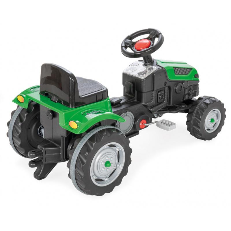 Traktor šliapací s volantom zelený