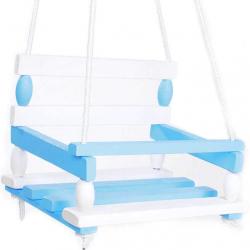TEDDIES Huśtawka drewniana 38 x 30 cm – biało-niebieska