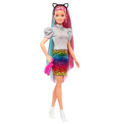 Barbie Leopardí panenka s duhovými vlasy a doplňky