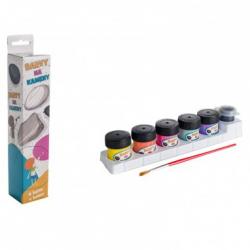 Akrylové farby na kamene 6 ks sa štetce v krabičke 4,5x23x4cm