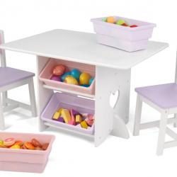 KidKraft dětský stůl Heart se dvěma židličkami a boxy