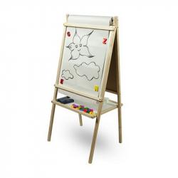 Detská magnetická tabuľa 3v1 prírodná