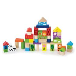 Dřevěná stavebnice 50 kostek - farma