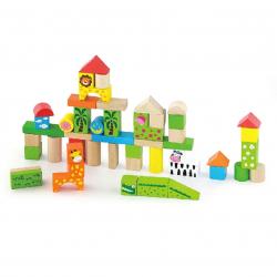 Dřevěná stavebnice 50 kostek - zoo