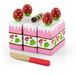 Drevené krájanie - jahodový tortu