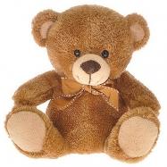 Medvídek plyšový 18cm hnědý s mašlí 0m+