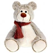 Medvěd plyšový 29cm sedící se šálou 0m+