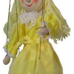 Marionetka drewniana Złotowłosa, 20 cm