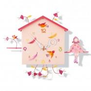 Závěsné hodiny - Dívka a ptáček