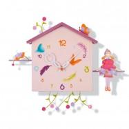 Závěsné hodiny - Dívka a motýl