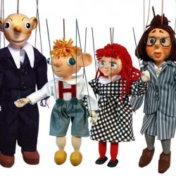 Bábky drevené 4ks Hurvínek, Spejbl, Mánička a paní Katarína