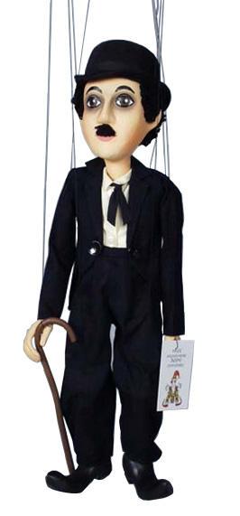 Dřevěná loutka kašírovaná 50 cm Chaplin