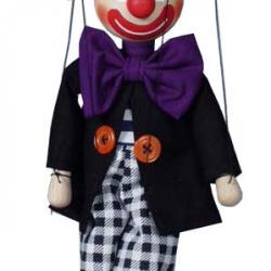 Dřevěná loutka Klaun s kostkovanými kalhotami