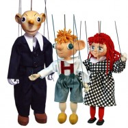 Marionetki drewniane Hurvinek, Spejbl i Mańka - 3 sztuki