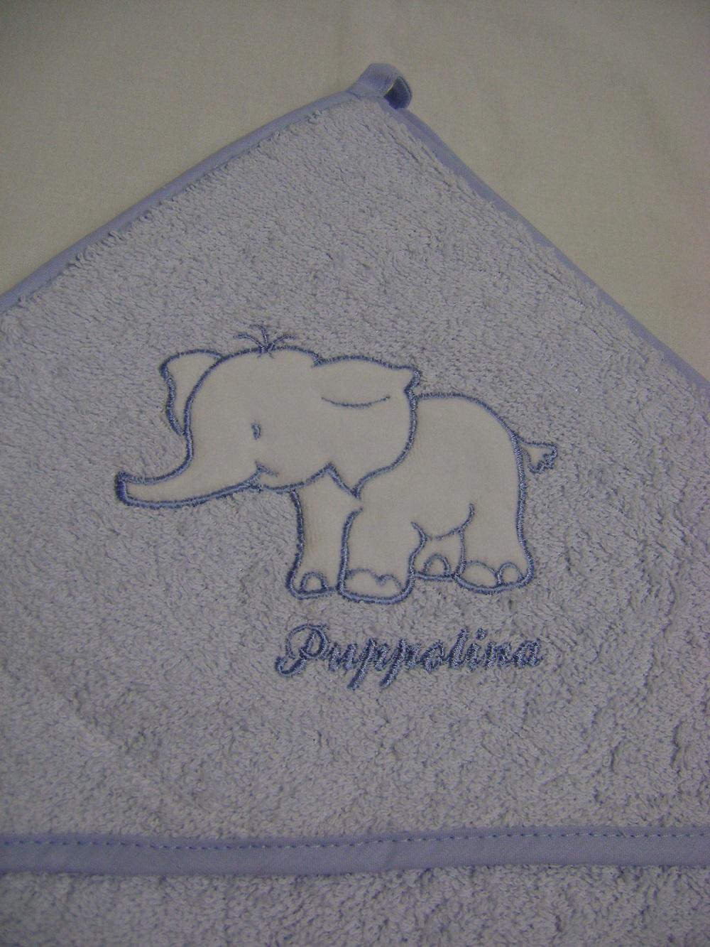Osuška s kapucí Puppolina Slon Modrá