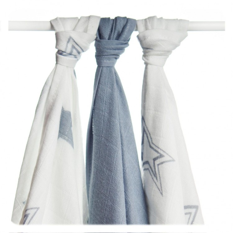 Bambusové pleny Kikko XKKO BMB Silver Stars MIX 70x70cm, 3ks