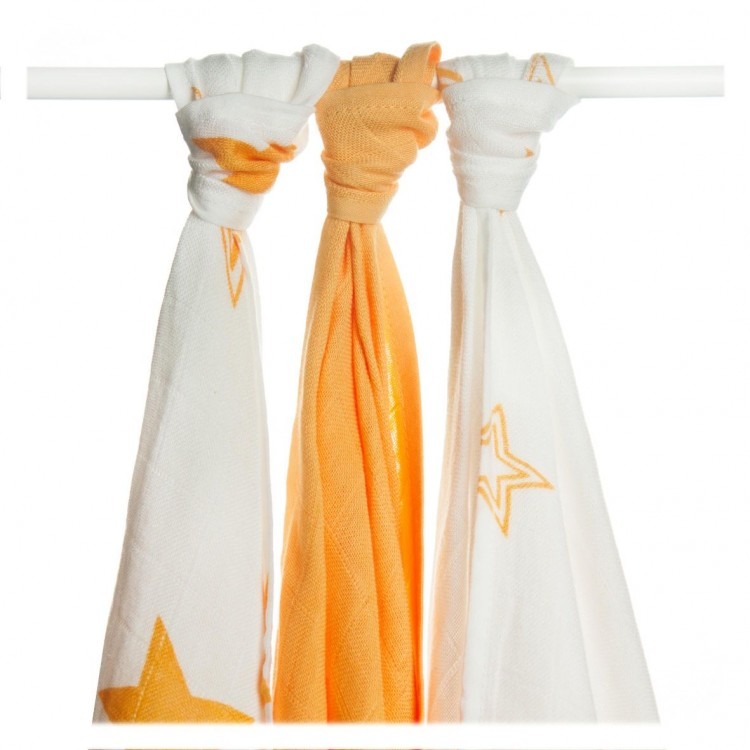 Bambusové pleny Kikko XKKO BMB Orange Stars MIX 70x70cm, 3ks