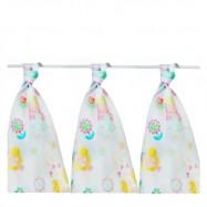 Bawełniane pieluszki dla dzieci KIKKO 3 szt 80x80 cm dziewczynka