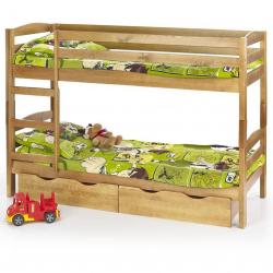 Halmar - łóżko piętrowe z materacami SAM - olcha