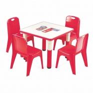 Halmar Dětský stolek SIMBA čtverec, červená