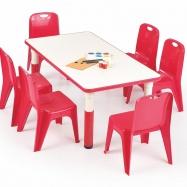 Halmar Dětský stolek SIMBA obdélník červená