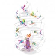 Závěsná dekorace spirála - Dívka s ptákem
